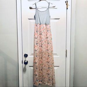 Casual Pink Floral Maxi Dress